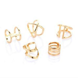 5 Piece Gold Geometric Midi Ring Set